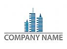 Ökostadt, Skyline, Drei Hochhäuser, Immobilien, Logo