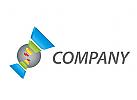 Kugel und Rechtecken, farbig Logo