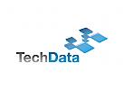 Technologien logo, Software, Prozess, Blau, W�rfel