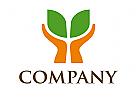 Zwei Bl�tter in H�nden Logo