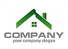 Haus, Dach in gr�n Logo