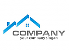 Haus, D�cher in blau Logo