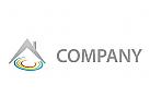 Haus und Kreise, farbig Logo