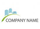 Ökostadt, Zeichen, Skizze, Skyline, Hochhäuser, Immobilien, Logo