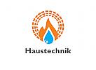 Zeichen, Signet, Logo, Haustechnik, Heizung, Sanitär, Solar
