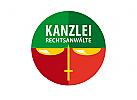 Waage Schwert Kreis Logo