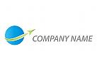 Flugzeug, Rakete und Kugel Logo