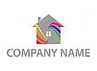 Haus und Wellen, farbig Logo