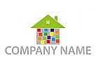 Haus und Rechtecken, farbig Logo