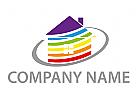 Maler, Familien Haus, farbig Logo