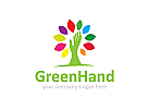 Baum Logo, Hand, Baumwipfel