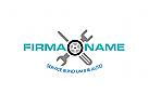 Logo mit Reifen und Werkzeug, für Autowerkstatt, Handel, Zubehör