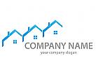 Ökostadt, Zeichen, Skizze, Real estate, Drei Häuser, Dächer, Logo