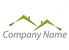 Zwei H�user, D�cher, gr�n Logo