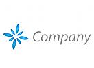 Stern, Blume, Blätter in blau Logo