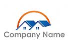 Zwei H�user, D�cher und Sonne Logo