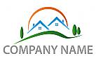 Zwei H�user und Sonne Logo