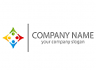 Vier Personen, farbig Logo