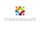 Logo, Gruppe, Menschen, Kreissegmente, Kugeln