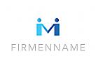 Logo, Paar, Menschen, Buchstabe, M