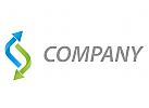 Zwei Pfeile in blau und in gr�n Logo