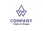 Modernes Logo, Buchstabenkombination AW