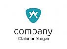 Modernes Logo, Buchstabenkombination AW oder WA