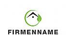Öko, Zeichen, Signet, Logo, Haus, Dach, Blatt, Natur, Kreis