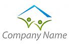 Zwei Personen und Haus Logo