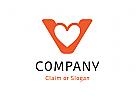 Modernes Logo, Buchstabe V, Herz