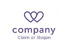 Modernes Logo, Buchstabe W, Herzen