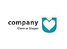 Modernes Logo, Buchstabe U, Herz