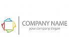 Vier D�cher, H�user, farbig Logo