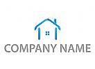 Reisebüro, Haus, Ferienhaus in blau Logo