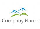 Zwei Häuser und Wiese Logo