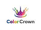 Ö Abstrakt, bunt, Crown, colorful Logo