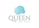 Wasser, Kosmetik, Friseur Logo