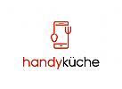 Handy, Küche, Löffel, Gabel, Smartphone, Essen, Fast Food Logo