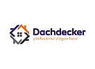 Dachdecker, Immobilien, Handwerk, Bau Logo