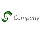 Zwei Spirale, Blätter, Vegan, Technologie, Logo