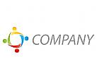 Vier Personen, Team, farbig Logo