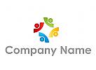 Vier Personen, Gruppe, farbig Logo