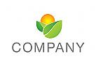 Öko, Zeichen, Signet, Logo, Sonne, Blätter, Orange, Natur, Grün