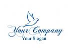 Taube Logo. Zu sehen ist ein Logo mit einer Hochzeitstaube. Für ein Unternehmen das Hochzeiten organisiert oder den Fotografen.
