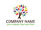Baum Logo, Menschen, Gruppen, Kinder