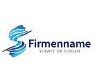 Logo abstrakt S Initial, Wasser in S Form