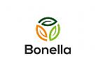 Drei Bl�tter Logo, �kologie, Recycling, gr�n
