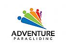 Menschen Logo, Gruppen, Fallschirm , Gleitschirm, Abenteuer
