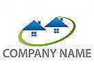 Ökologie, Zwei Häuser, Wiese, Immobilien, Logo