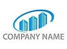 Immobilien, Drei Hochhäuser und Halbkreis Logo